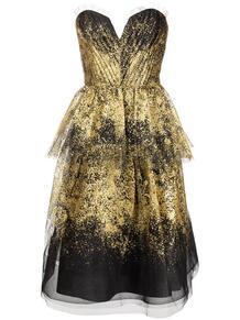 драпированное платье без бретелей MarchesaNotte 1631424550