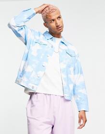 Джинсовая куртка с принтом облаков от комплекта -Голубой Mennace 11804537