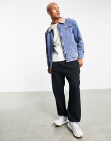 Джинсовая куртка в рабочем стиле с контрастным замшевым воротником и вышивкой в виде бабочек -Голубой Mennace 11804504