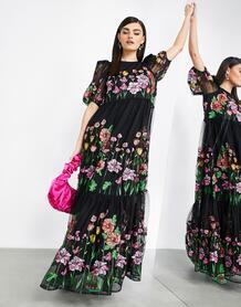 Черное платье-трапеция макси с вышивкой и пышными рукавами -Многоцветный ASOS Edition 10351102