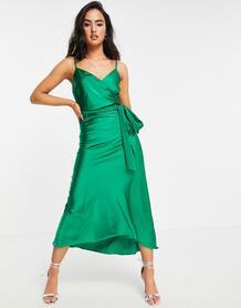 Атласное платье миди зеленого цвета на бретельках -Зеленый Liquorish 11255482