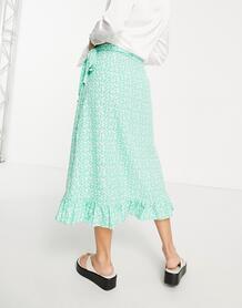 Зеленая юбка миди с запахом, оборкой и цветочным принтом -Зеленый цвет Vero Moda 11783366