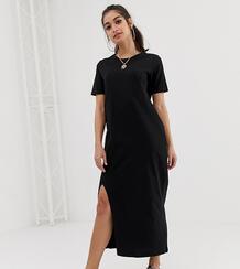 Платье-футболка макси ASOS DESIGN Petite-Черный Asos Petite 6425130