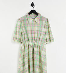 Платье-рубашка мини в клетку пастельных оттенков с объемными рукавами ASOS DESIGN Curve-Multi Asos Curve 12126912