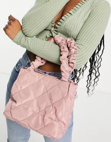 Черная стеганая сумка с короткими присборенными ручками -Розовый цвет Ego 11233372