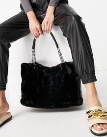 Черная сумка-тоут из искусственного меха -Черный цвет Ego 11233384
