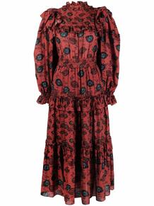 платье со сборками и принтом ULLA JOHNSON 1691846852