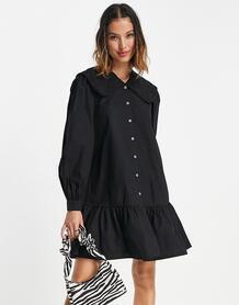 Черное платье с присборенной юбкой и большим воротником -Черный цвет VILA 103614124
