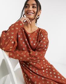 Платье миди в горошек с асимметричным краем -Мульти Liquorish 10468147