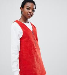 Красное вельветовое влатье-сарафан мини -Оранжевый Noisy May Petite 7459188