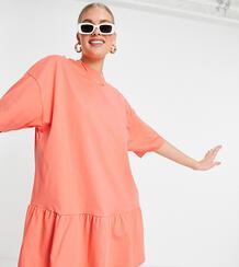 Платье-футболка розового цвета в стиле oversized с оборкой по нижнему краю Tall-Розовый цвет ASOS DESIGN 11716869