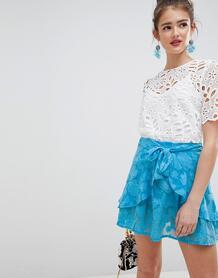 Мягкая жаккардовая мини-юбка с оборкой и поясом -Синий ASOS DESIGN 7182083
