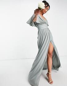 Платье макси с рукавами клеш, сатиновой отделкой и юбкой на запах Bridesmaid-Зеленый цвет ASOS DESIGN 102758407