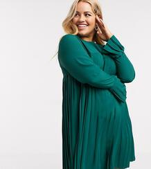 Зеленое плиссированное платье-трапеция мини с длинными рукавами ASOS DESIGN Curve-Зеленый Asos Curve 9349553