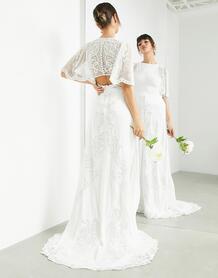 Свадебное платье с расклешенными рукавами и винтажной вышивкой Savannah-Белый ASOS Edition 11126574