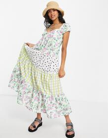 Ярусное платье макси с комбинированными принтами -Multi ASOS DESIGN 102373658