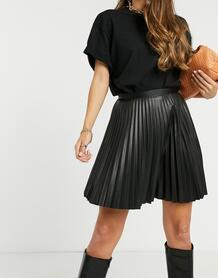 Черная плиссированная мини-юбка из искусственной кожи -Черный цвет VILA 10678160