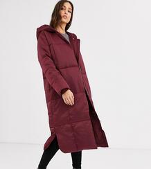 Темно-красное дутое длинное пальто ASOS DESIGN Tall-Серый Asos Tall 8345650