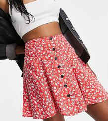 Свободная юбка красного цвета с цветочным принтом и застежкой на пуговицах -Красный Topshop Tall 102918931