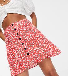 Красная расклешенная юбка с цветочным принтом и пуговицами -Красный Topshop Petite 102919145