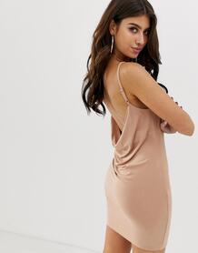 Платье мини со свободным воротом сзади -Розовый ASOS DESIGN 7941030