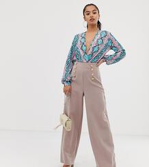 Светло-розовые широкие брюки с золотистыми пуговицами -Розовый Flounce London Petite 8137344
