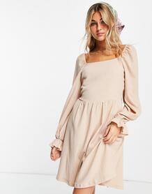 Голубое свободное платье-рубашка с короткими рукавами и цветочным принтом -Голубой VILA 11775505