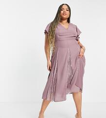Платье миди с кружевными вставками ASOS DESIGN Curve-Фиолетовый цвет Asos Curve 11962973