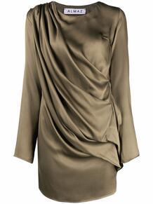 атласное платье мини с драпировкой ALMAZ 1701611383