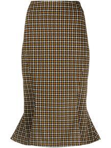 юбка с баской и узором в ломаную клетку Marni 162719175248