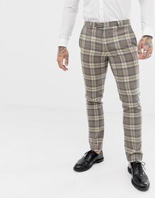 Светло-бежевые брюки скинни в клетку Twisted Tailor - Серый 1319001
