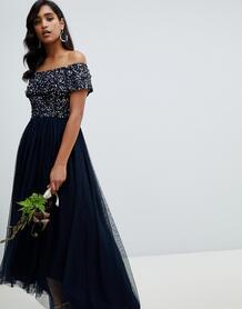 Темно-синее платье макси с приспущенными плечами и асимметричным подол MAYA 1304724