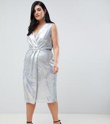 Платье миди с запахом и серебристыми переливающимися пайетками TFNC Pl TFNC Plus 1340536
