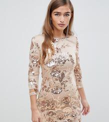 Золотистое облегающее платье мини с цветочной отделкой пайетками TFNC TFNC Petite 1340457