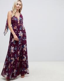 Плиссированное платье макси с цветочным принтом ASOS DESIGN - Мульти 1332028