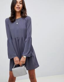 Свободное платье мини с рукавами клеш ASOS DESIGN - Серый 1341204