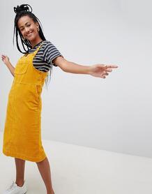 Желтый вельветовый сарафан миди Monki - Желтый 1370471