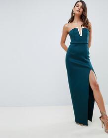 Платье-бандо макси с золотистой планкой ASOS DESIGN - Черный 1291656