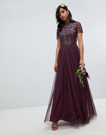 Длинное платье-туника ягодного цвета с высоким воротом и отделкой пайе MAYA 1304720