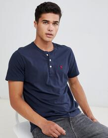Темно-синяя футболка на пуговицах с логотипом Abercrombie & Fitch Abercrombie& Fitch 1342653