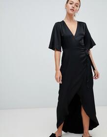 Платье макси с запахом и рукавами клеш Moves By Minimum - Черный 1293362