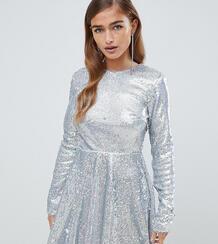 Приталенное платье мини с длинными рукавами и серебристыми переливающи TFNC Petite 1340463