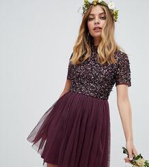 Платье мини из тюля с высоким воротом и отделкой пайетками ягодного цв Maya Petite 1304549