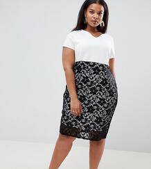 Платье-футляр миди с кружевной юбкой Praslin - Мульти 1278161