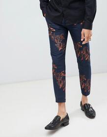 Укороченные брюки скинни с принтом Twisted Tailor - Темно-синий 1225952