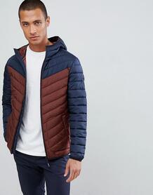 Дутая куртка колор блок с капюшоном Tom Tailor - Темно-синий 1307970