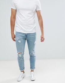 Светлые джинсы скинни с рваной отделкой Abercrombie & Fitch - Синий Abercrombie& Fitch 1355182
