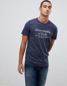 Темно-синяя футболка с логотипом Abercrombie & Fitch - Темно-синий Abercrombie& Fitch 1353314