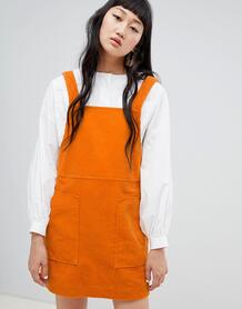 Вельветовое платье мини Weekday - Оранжевый 1344437