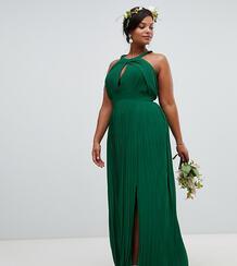 Зеленое плиссированное платье макси TFNC Plus - Зеленый 1329695
